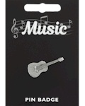 Classical Guitar Pin Badge - Pewter