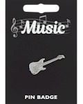 Electric Guitar Pin Badge - Pewter
